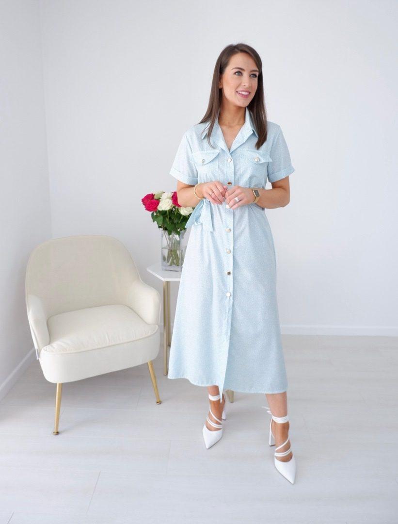 Sienna – Mint Shirt Dress With Statement Gold Buttons produ