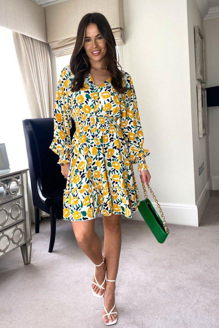 Moya – Shirred Waist Detail Dress Yellow Print produ
