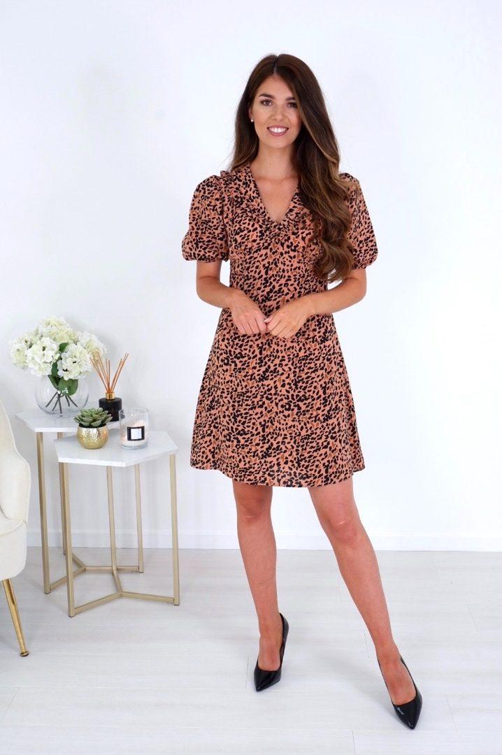 Jane – Collar Detail Mini Dress Brown Animal produ