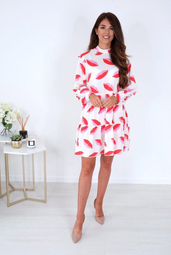 Tess – Tiered Long Sleeve Dress Pink produ