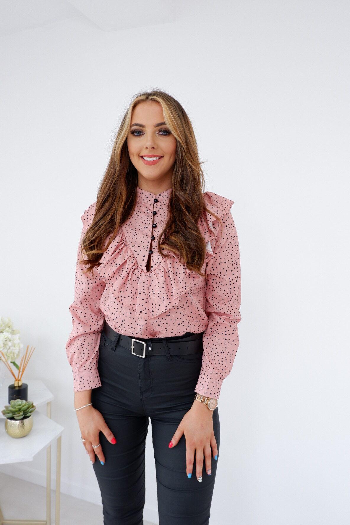 Mia – Pink Polka Dot Ruffle Blouse produ