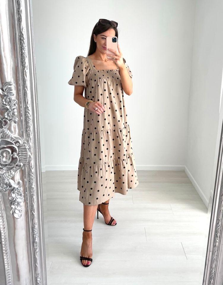Eva – Stone Polka Dot Summer Dress produ