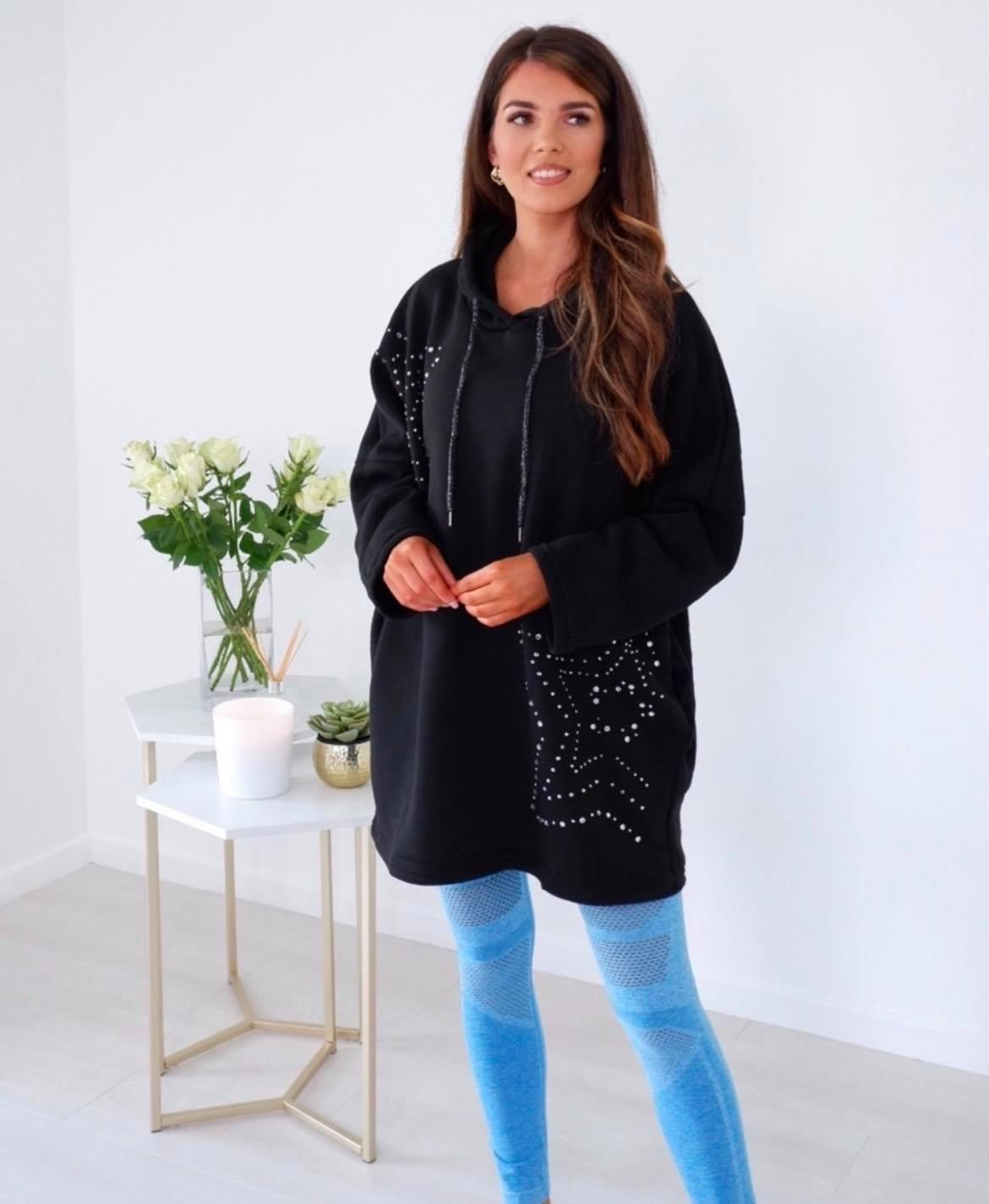 Luna – Star Diamante Studded Relaxed Fleece Sweater produ