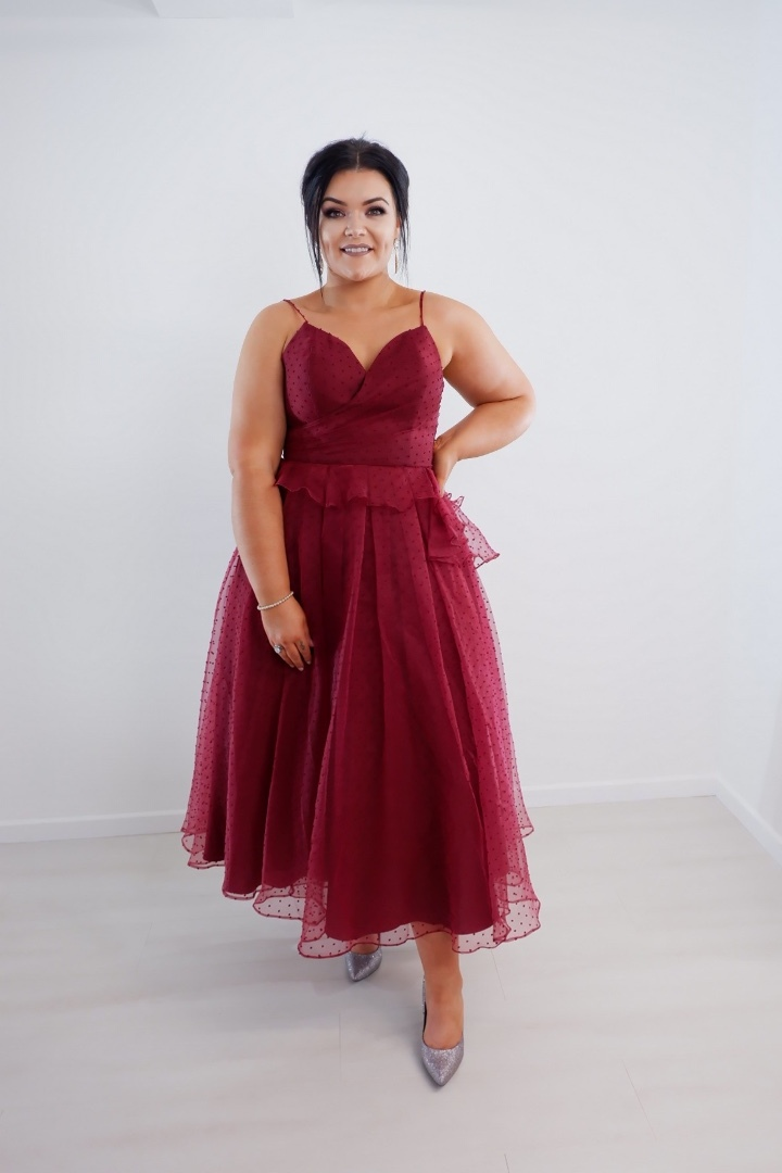 Wine Tulle Layered Dress produ