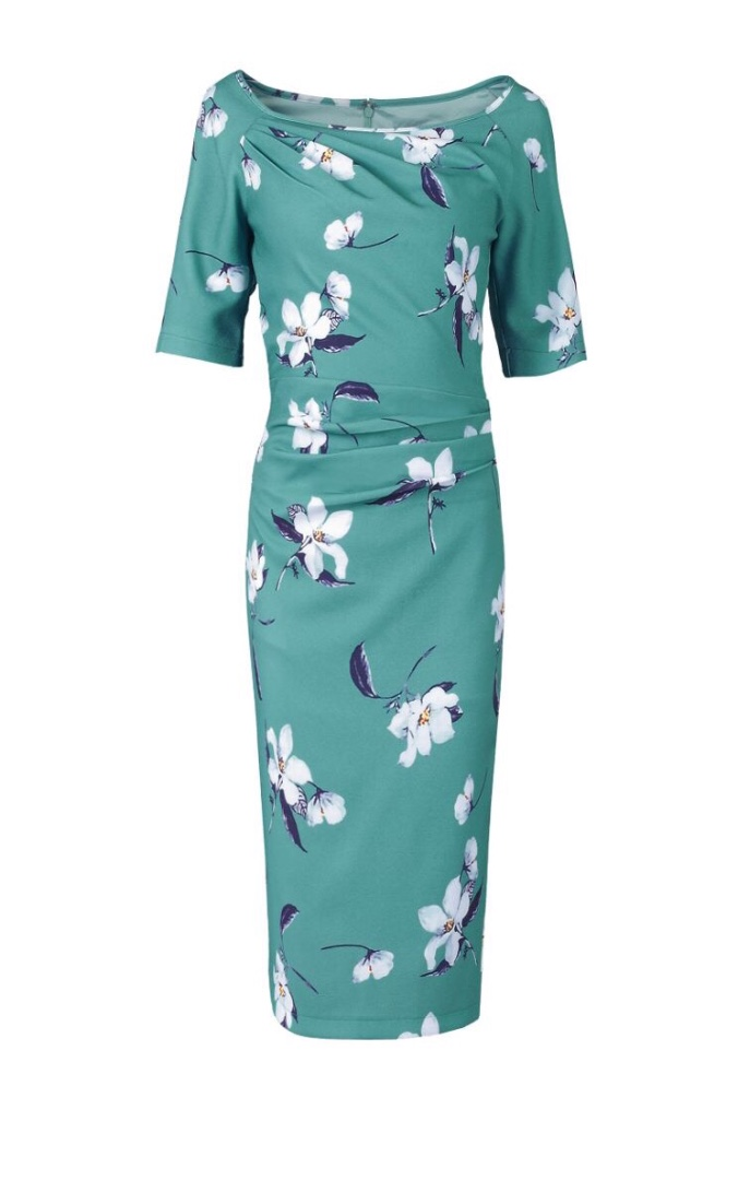 Teal Floral With 1/2 Sleeve & Gathering Detail produ