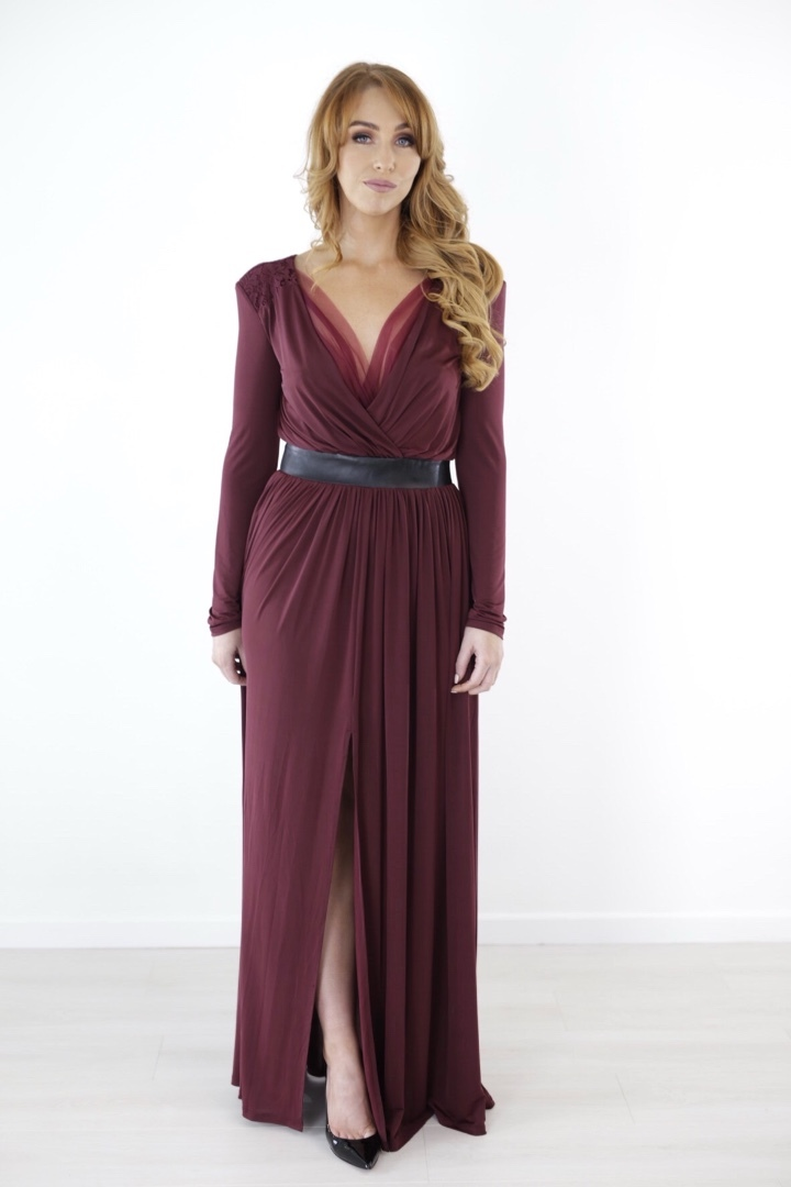 Valentina- Burgundy Full Length Dress produ