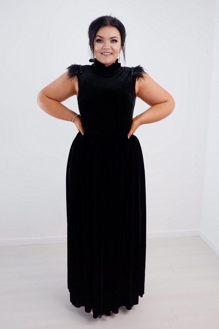 Black Velvet With Lace Underlay & Feathered Detail produ