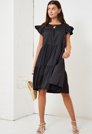 Black Tiered Smock Midi Dress produ