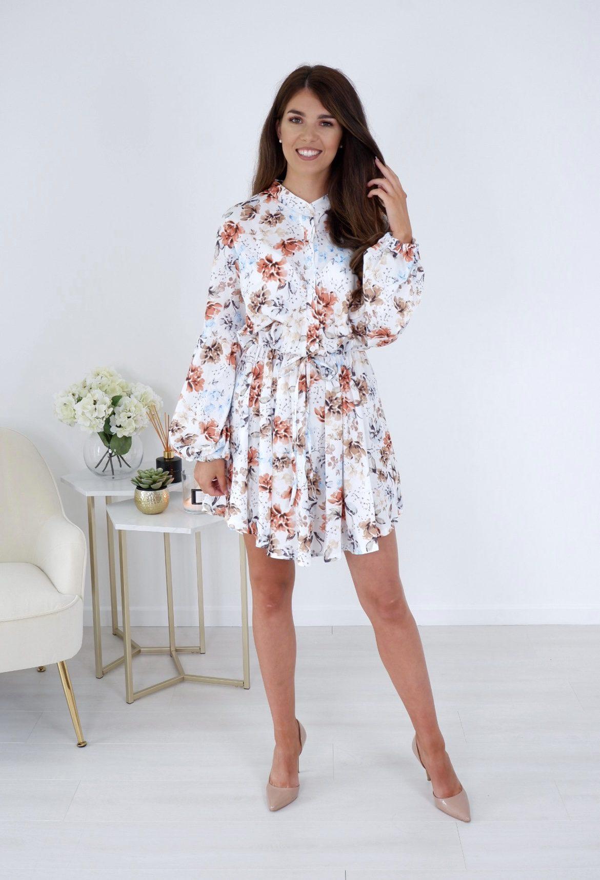 Cassie – White Floral Print Long Sleeve Mini Dress produ
