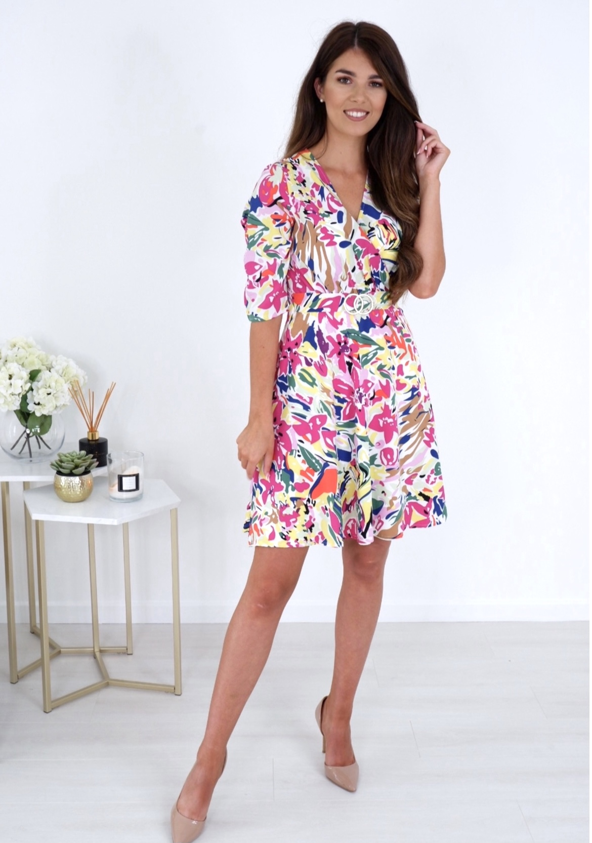 Lucy – Buckle Detail 3/4 Sleeve Dress Bright Yellow/Pink Floral produ
