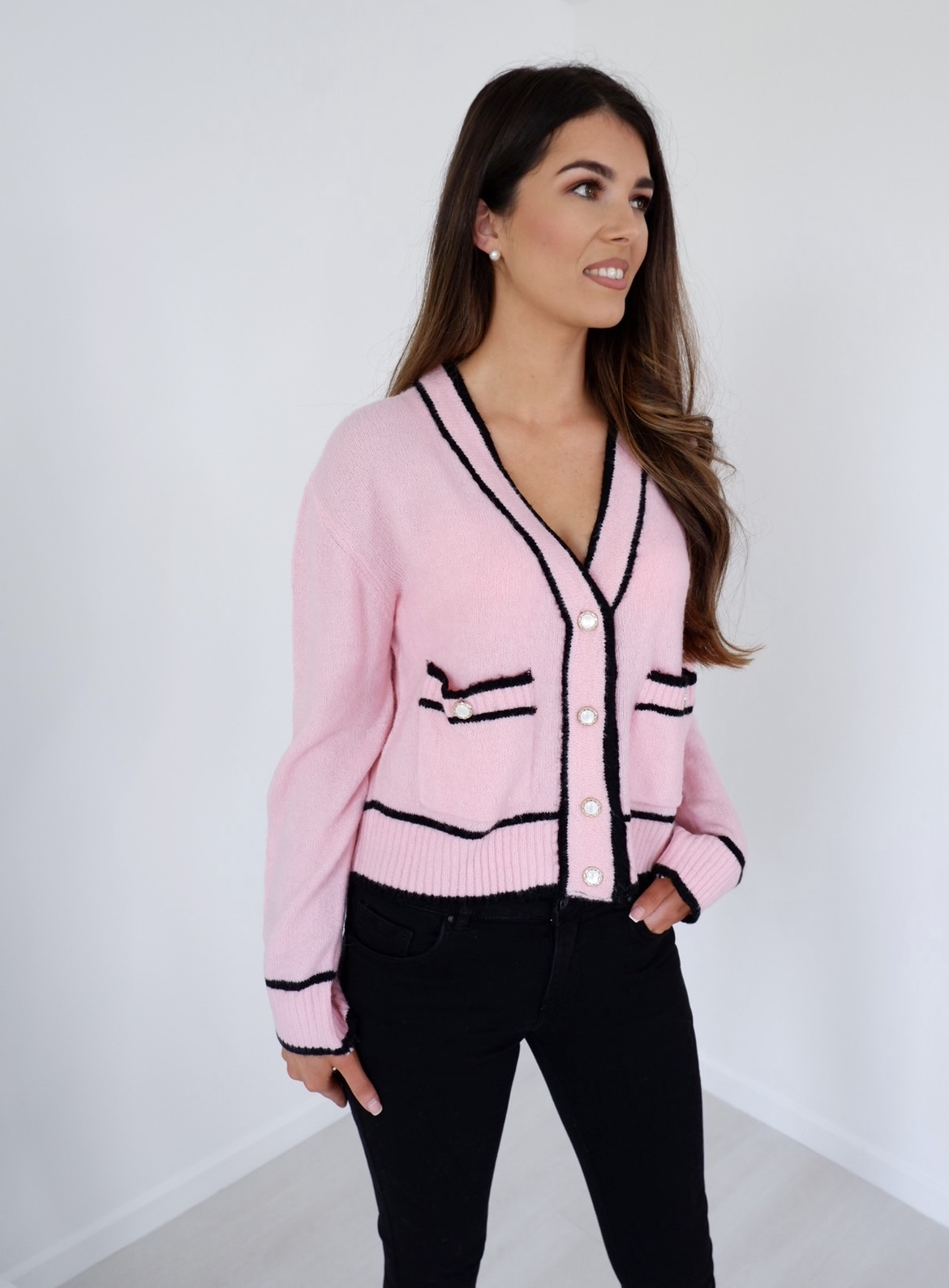 Sofia – Pink Cropped Cardi With Pearl Buttons & Black Trim produ