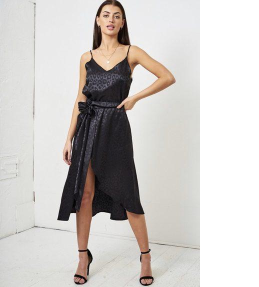 Carrie – Satin Black Leopard Wrap Skirt produ