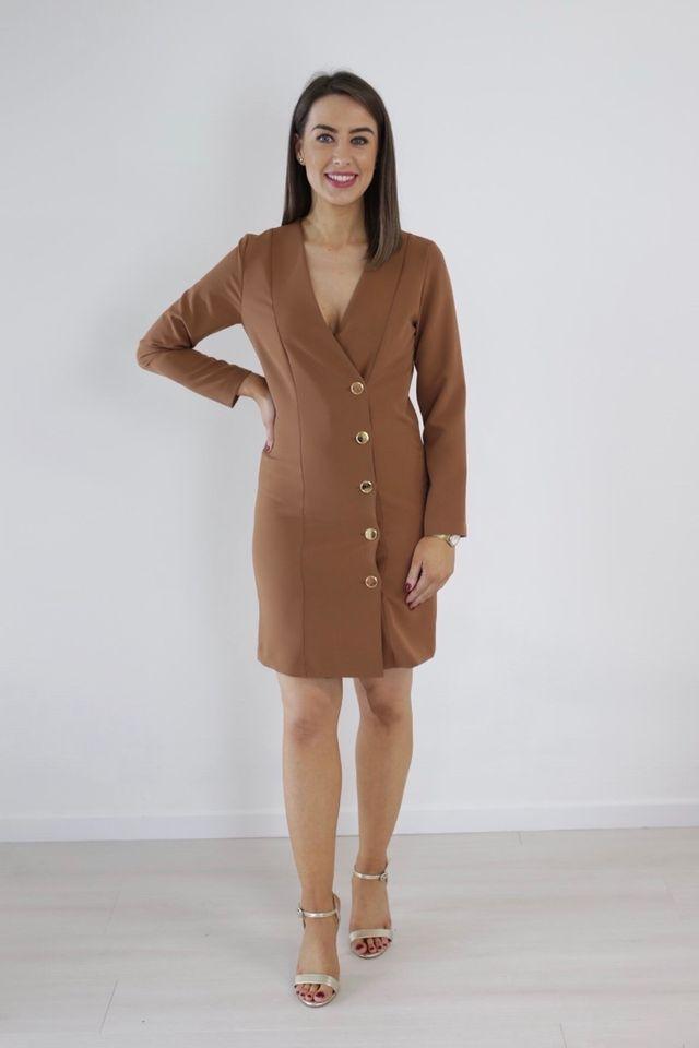Tan Blazer Dress With Statement Gold Buttons produ