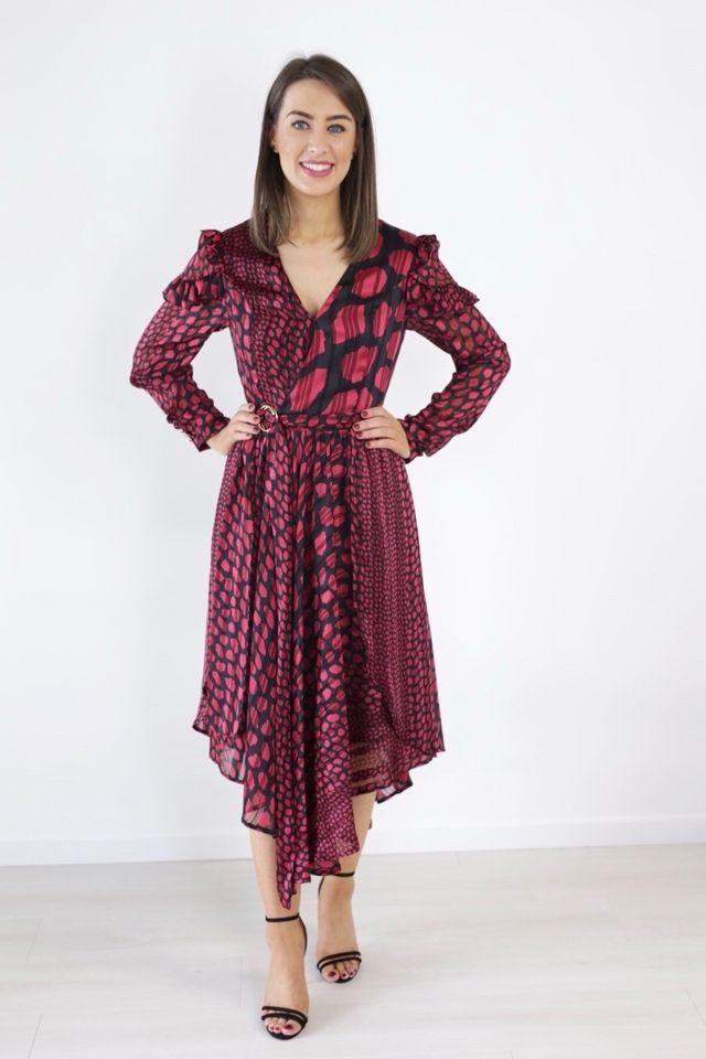 Wine & Black Print Dress produ