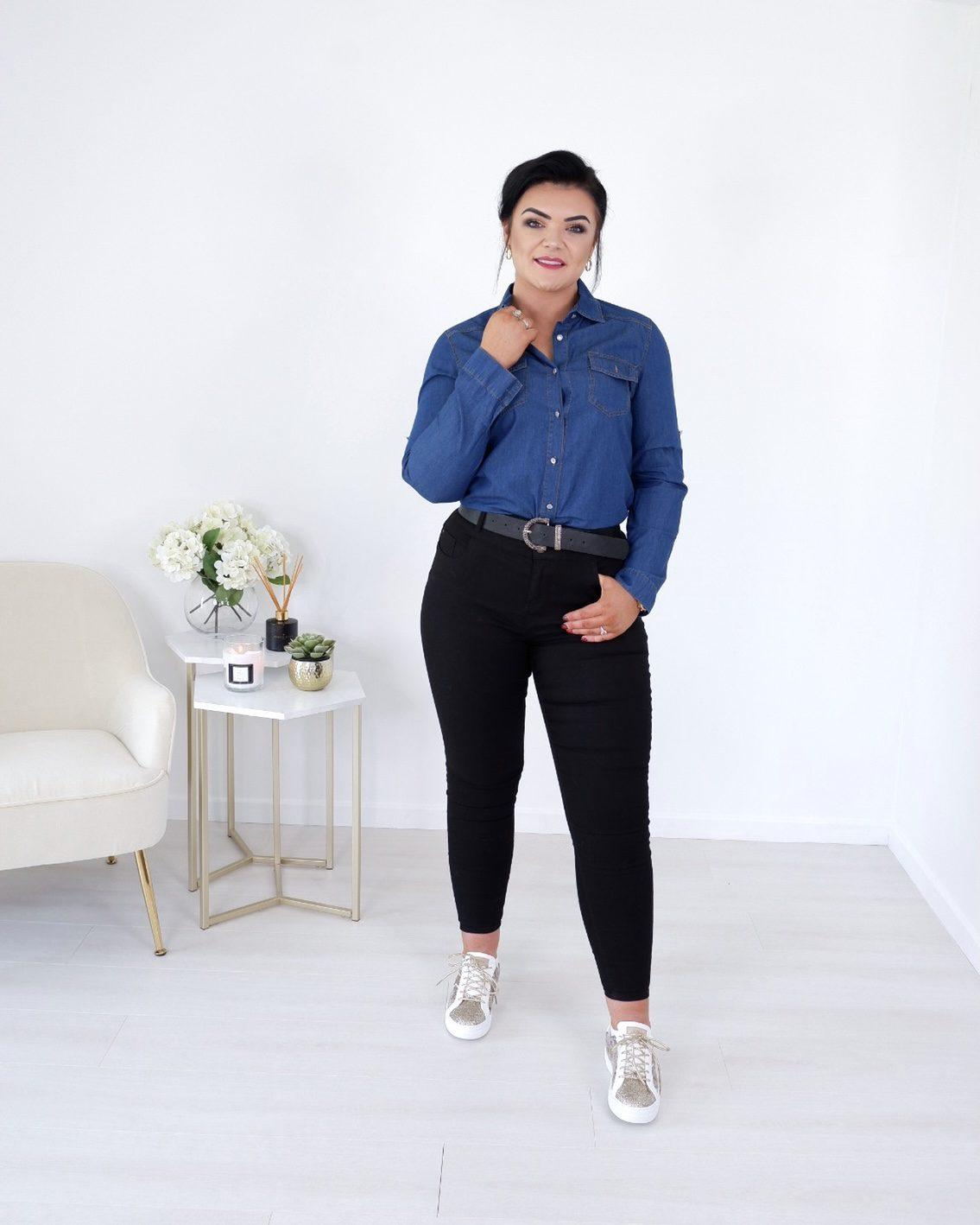 Elora- Denim Blue Long Sleeve Shirt produ