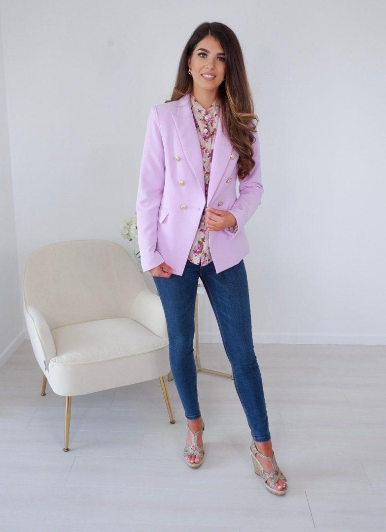Carrie – Lilac Gold Button Blazer produ