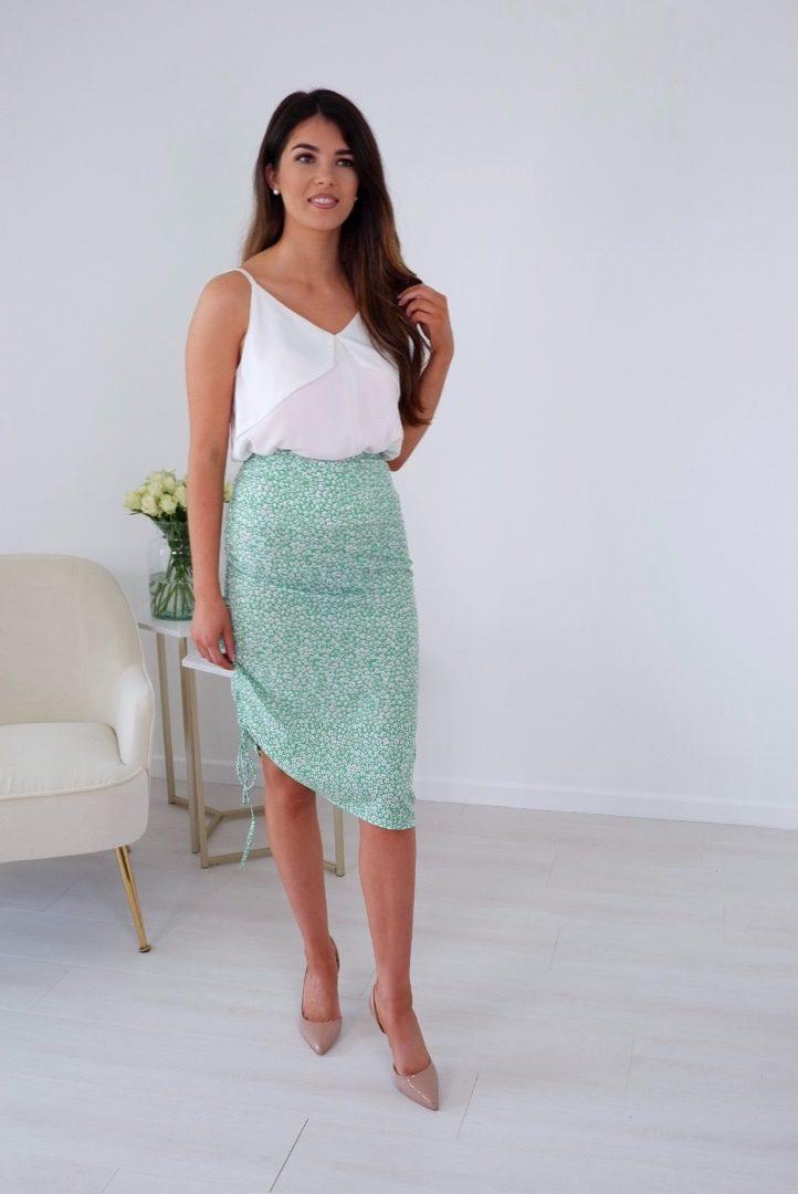 Kylie – Green Ditsy Floral Midi Skirt produ