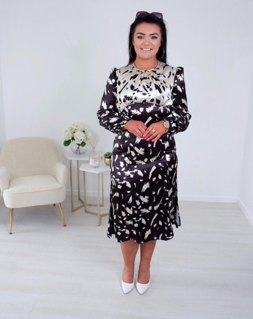 Kendra – Champagne & Black Midi Dress produ
