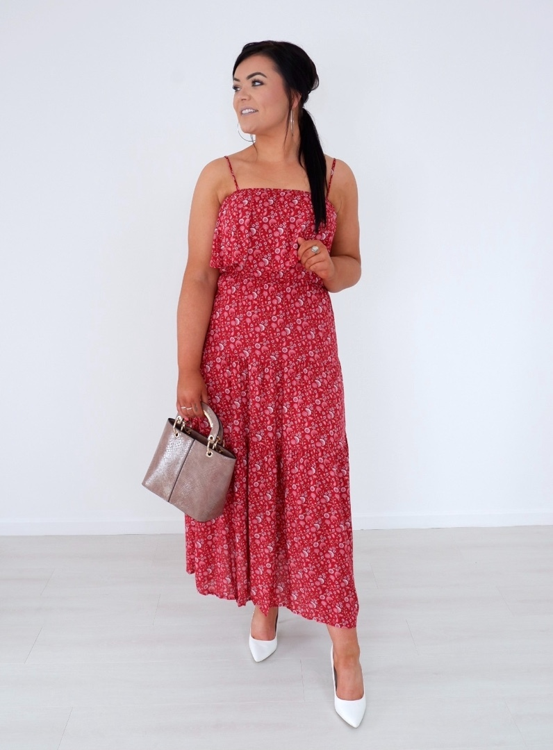Libby – Red & Blush Summer Print Tiered Dress produ