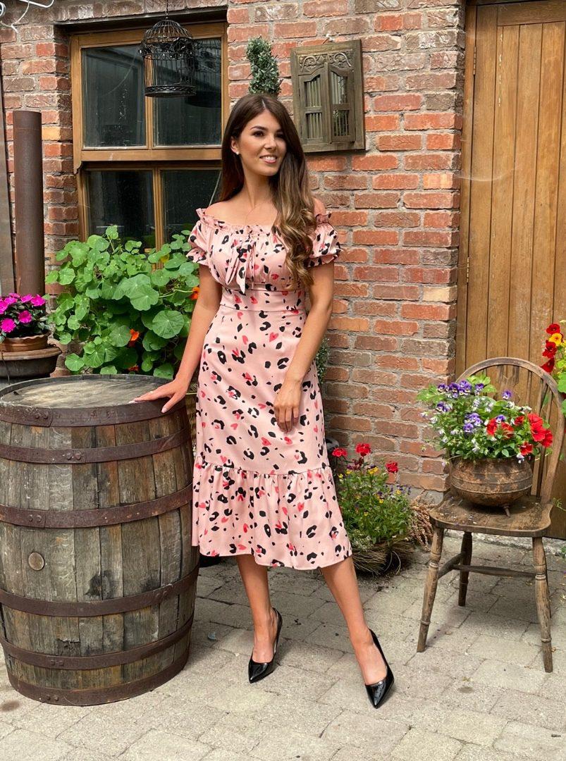 Delia – Blush Bardot Dress produ