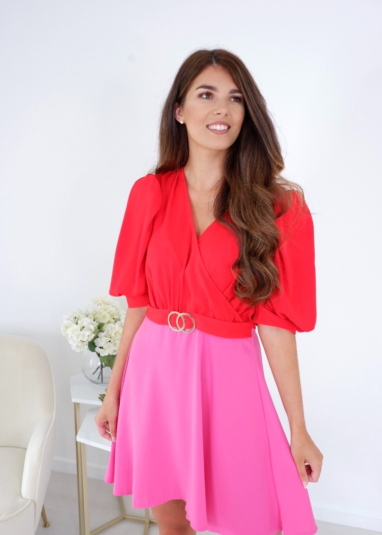 Freya – Puff Sleeves Gold Buckle Skater Dress Red/Pink produ