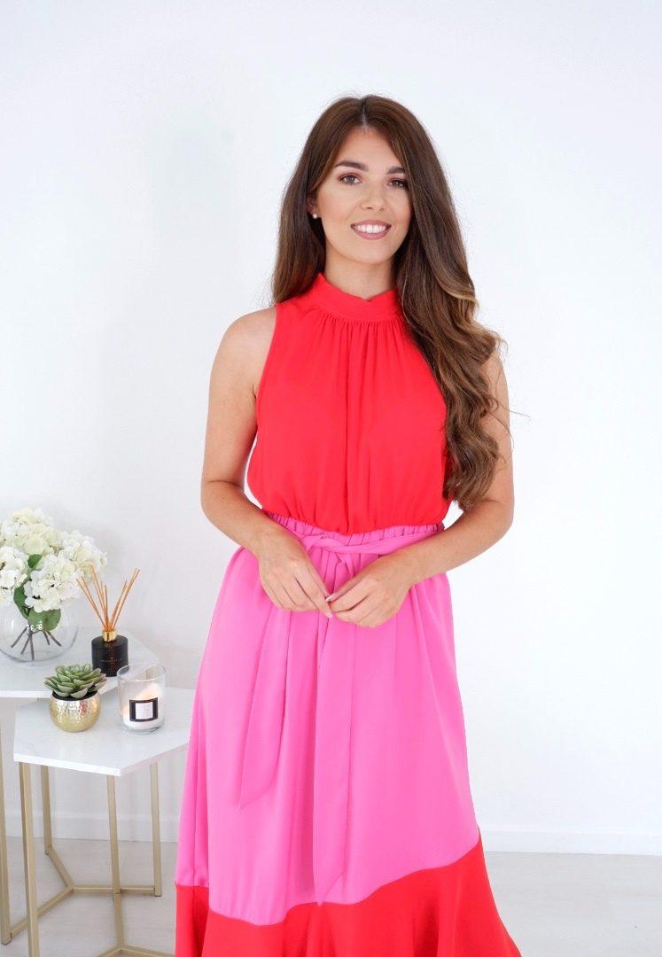 Olivia – Tie Neck Angled Tier Midi Dress Red/Pink produ