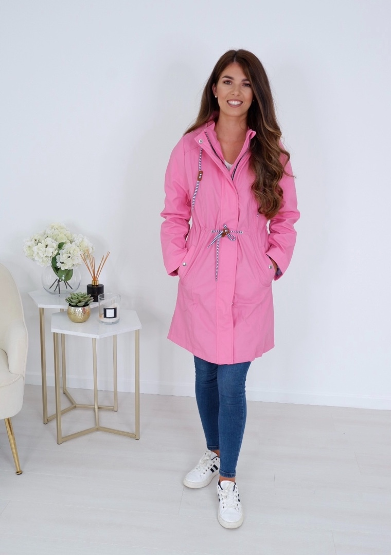Penny -Drawstring Rain Jacket In Bubblegum Pink produ