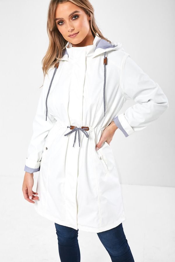 Sophia – Drawstring Rain Jacket In White produ