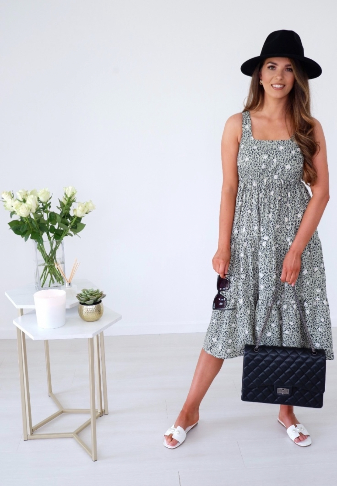 Carrie – Sage Green Floral Square Neckline Tiered Dress produ