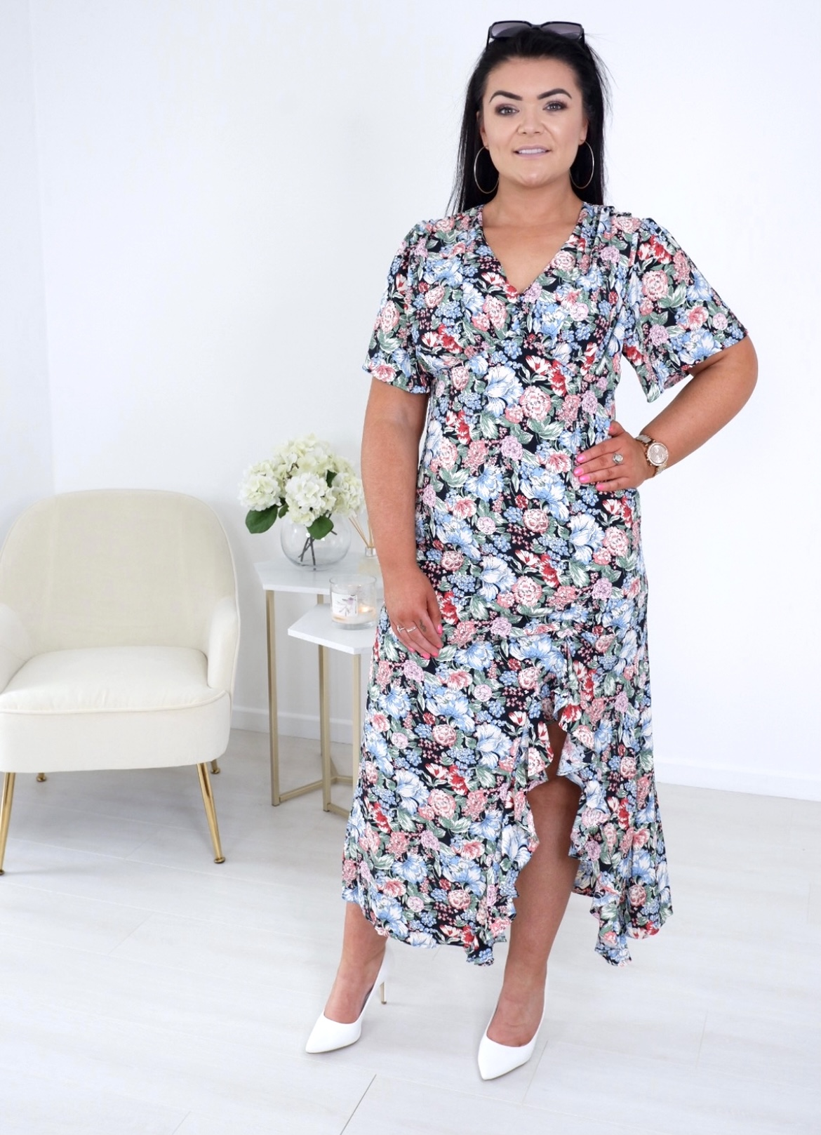Eva – Ruffle Split Midi Dress produ