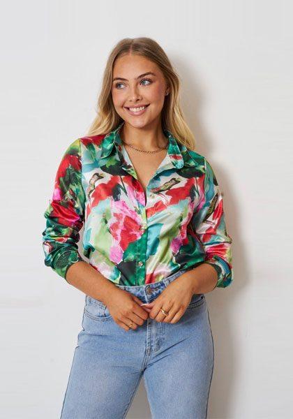 Harriett – Green & Pink Satin Shirt produ