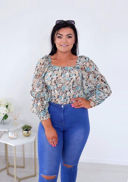 Lana – Mint, Blue & Tan Floral Square Neckline Blouse produ