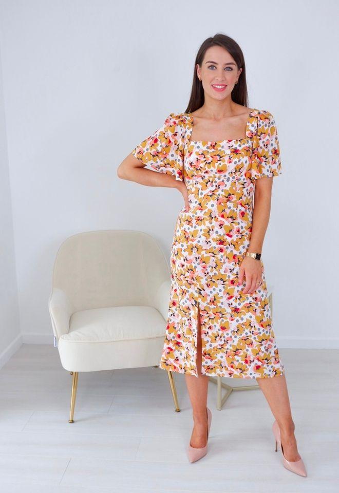 Nova -Square Neck Floral Print Polka Dot Midi Dress produ