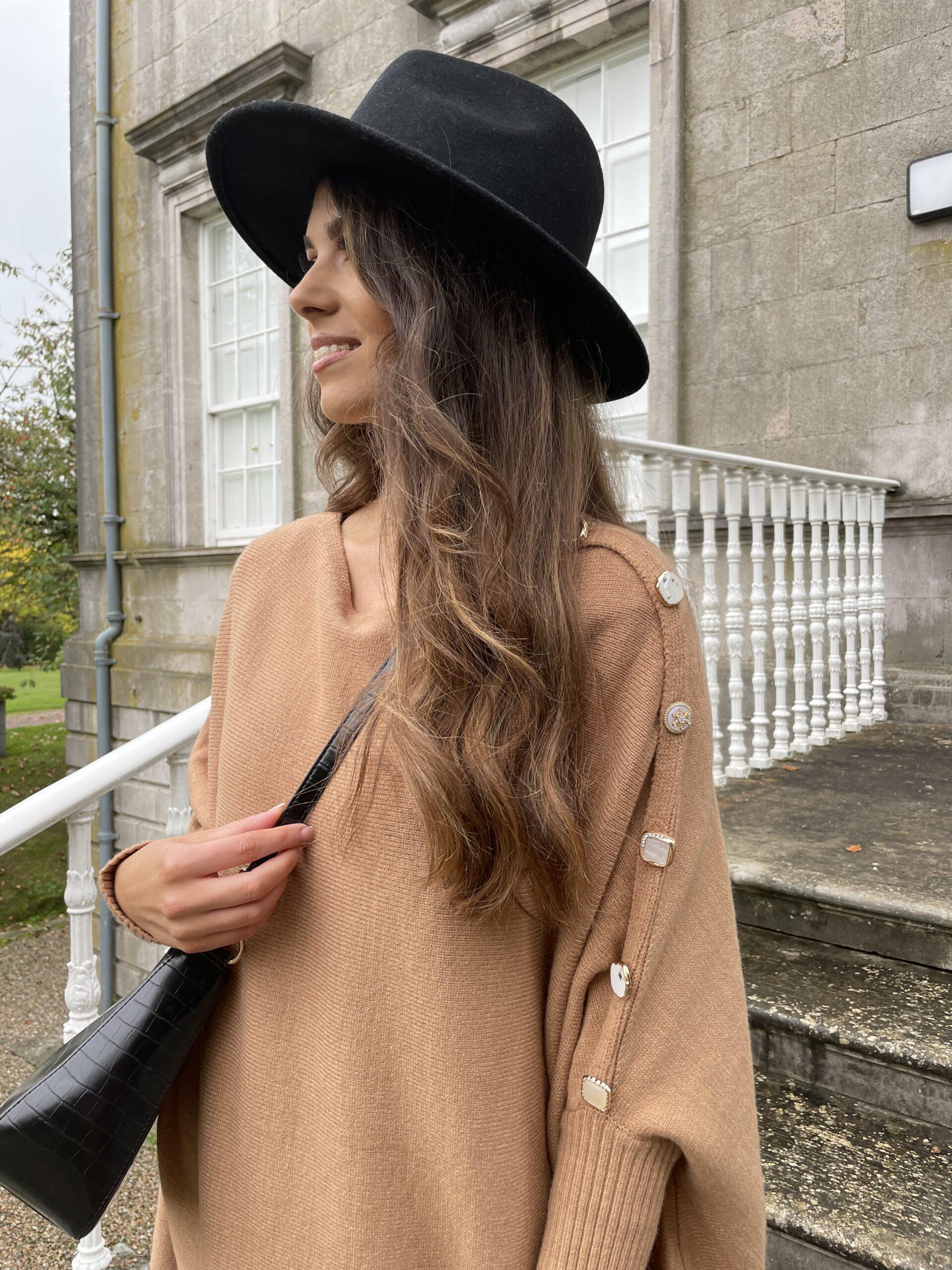 Harriett – Tan Cape Knit with statement buttons produ