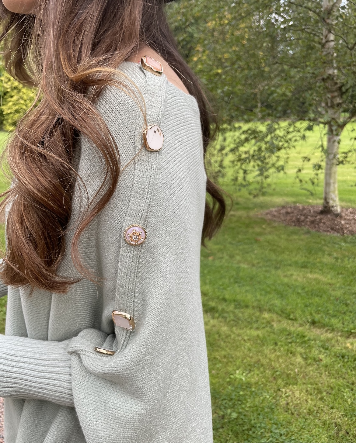 Cotswold – Sage Green Cape Knit with statement buttons produ