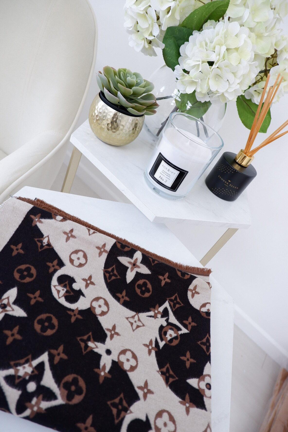 Cora – Luxe Cashmere Tan, Nude & Black Designer Inspired Scarf produ