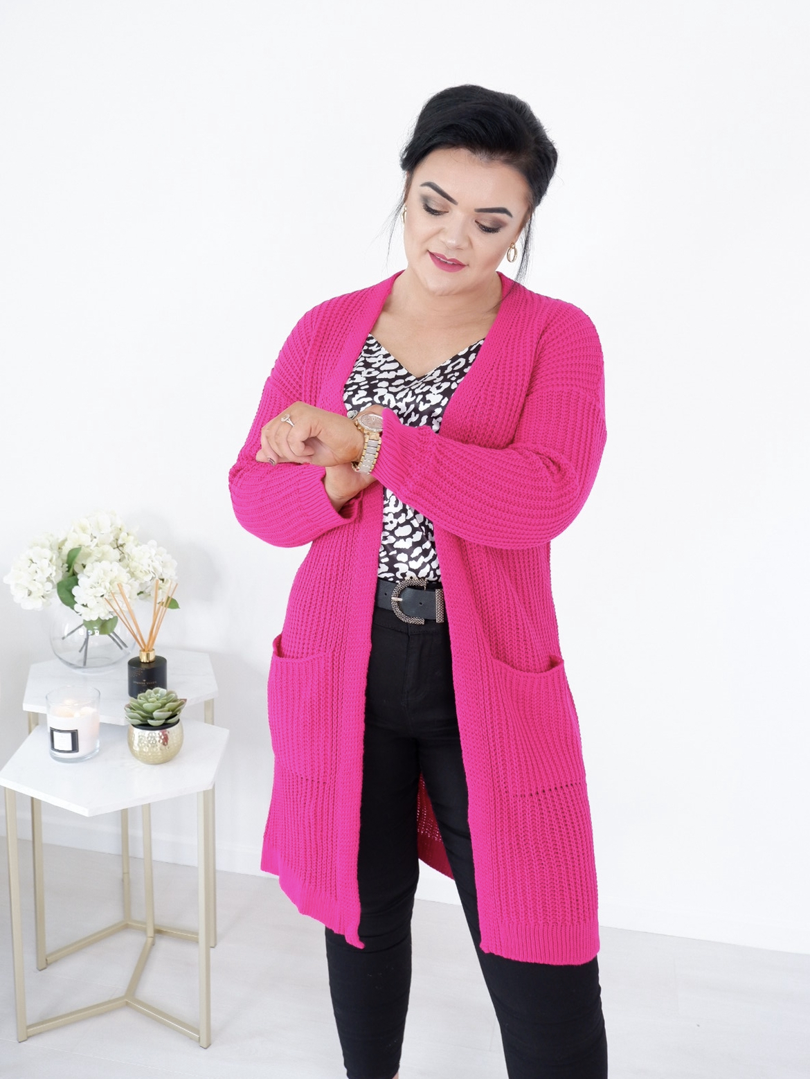 Miami Hot Pink Longline Cardigan with Pockets produ