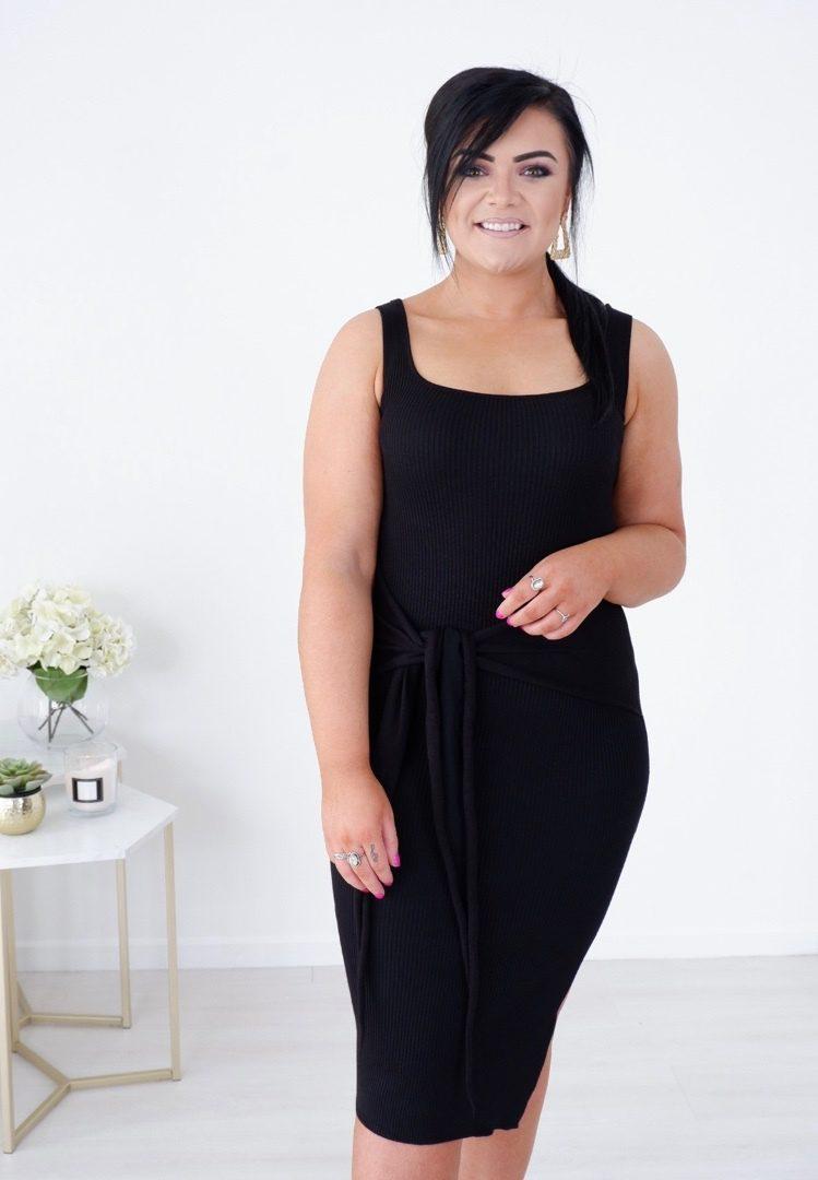 Hayley – Black Ribbed Midi with bow tie produ