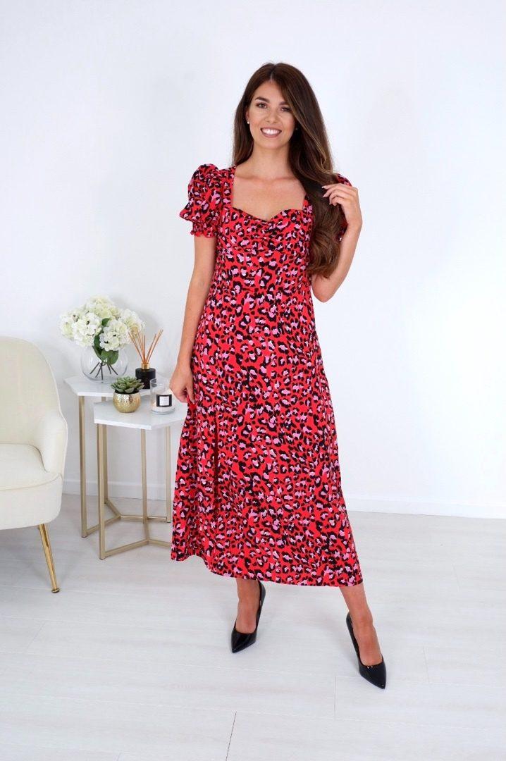 Hallie – Sweetheart Midi Dress Red Leopard produ