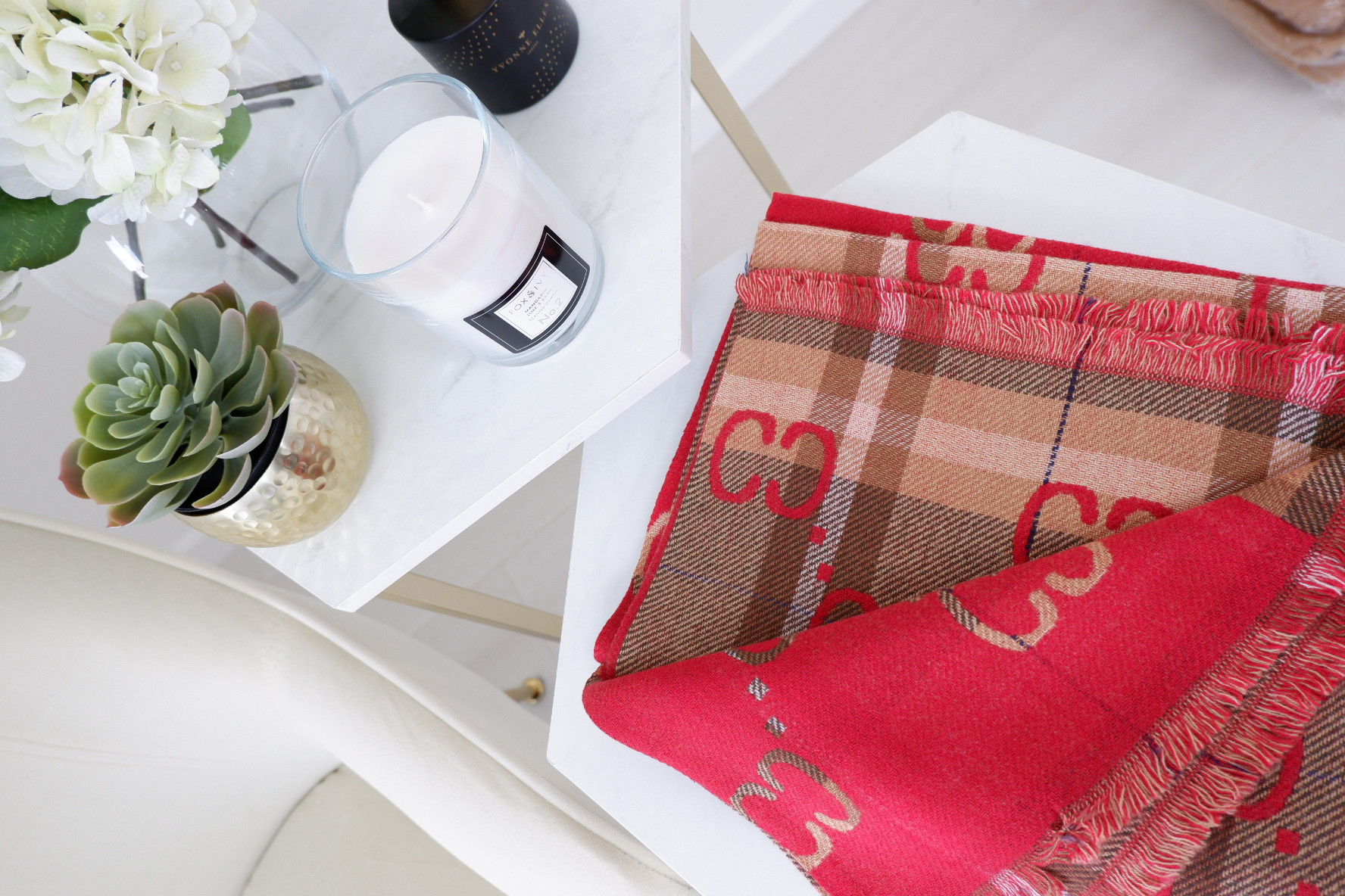 Scarlett – Luxe Cashmere Red & Tan Check Reversible Scarf produ