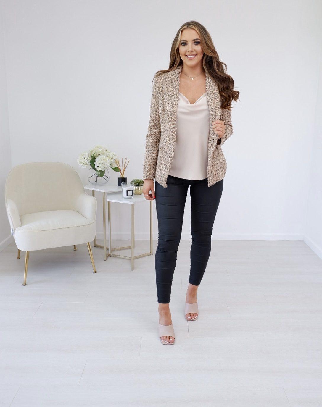 Maisie – Classic Luxe Tan, Nude & Metallic Bronze Thread Tweed Blazer produ